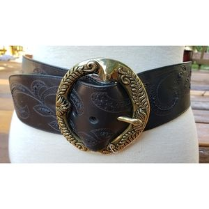 Cole Haan Wide Black Leather Tooled Belt S